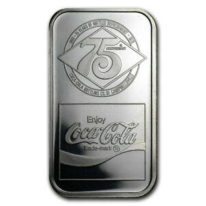 Coca Cola 75th Anniversary Campbellsville, KY Commemorative 1oz Silver Bar