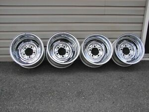 Vintage Chrome Reverse Wheels 15x8 15x10 5x5 5 Bc 1946 96 Ford Dodge Truck Jeep