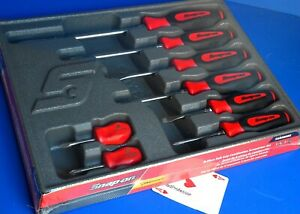 Snap On Tool 8 Piece Instinct Red Soft Grip Combination Screwdriver Set New 2019