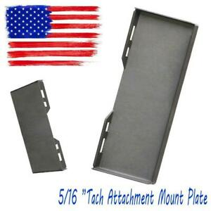 5 16 steel Tach Attachment Mount Plate Skid Steer For Bobcat Kubota Quick Hookup