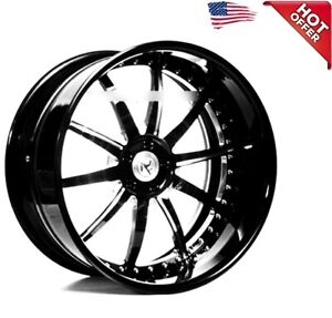 4ea 22 Staggered Ac Forged Wheels Rims Ac320 Black 3 Pcs S2