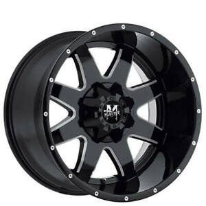 4ea 18 Off Road Monster Wheels M08 Gloss Black Milled Rims S5