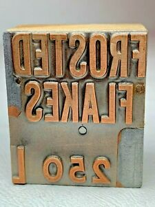 Antique Copper Frosted Flakes Letterpress Printer Wood Block