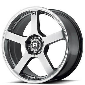 4ea 16 Motegi Racing Wheels Mr116 Dark Silver With Machined Stripe Rims s5