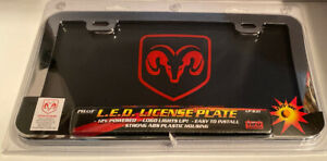Dodge Logo Dodge Word L E D License Plate With Heavy Duty Metal Chrome Frame