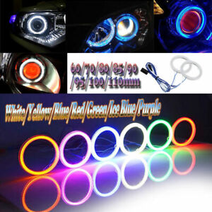2x Car Cob Led Angel Eyes Halo Ring Light Drl White yellow blue red green purple