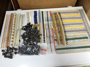 Huge Lot Of Electronic Components Resistors Caps Diodes More 1500 Pieces