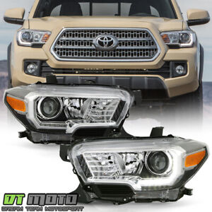For 2016 2019 Toyota Tacoma W Led Drl Black Trim Projector Headlights Headlamps
