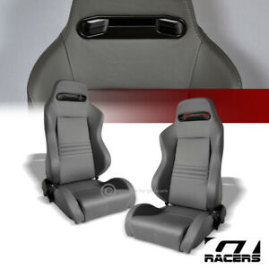 2x Universal Tr Gray Stitch Pvc Leather Reclinable Racing Bucket Seat Slider G01