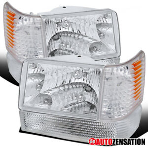 Fits 93 96 Jeep Grand Cherokee Clear Lens Headlights bumper corner Lamps Pair