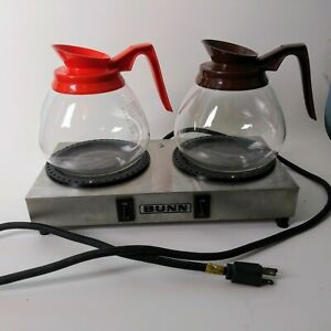 Bunn O Matic Dual 2 Burner Coffee Pot Carafe Warmer Stainless Steel Set 2 Pots