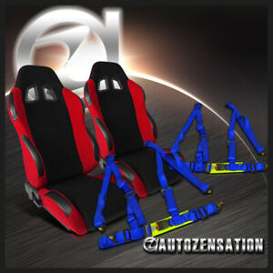 Pair Black red Reclinable Racing Seats 2pc Blue 4 point Harness Belts