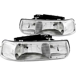111011 Anzo Headlight Lamp Driver Passenger Side New For Chevy Suburban Lh Rh