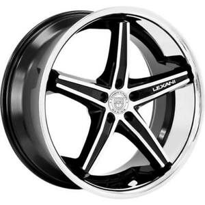 4ea 24 Lexani Wheels Fiorano Gloss Black Machined W Chrome Lip Rims s10