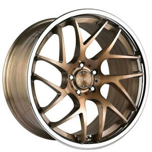 4ea 20 Staggered Vertini Wheels Rfs1 4 Brushed Bronze With Chrome Lip Rims S5