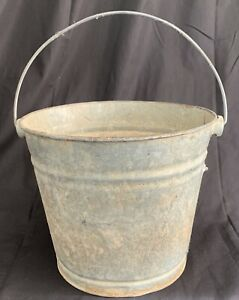 Vintage J L Ware Rustic Galvanized Metal Pail With Handle 10 5 X 9