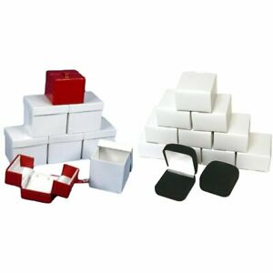 6 Red Earring Jewelry Display 12 Black Flocked Square Ring Gift Boxes Kit