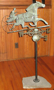 Antique Copper Sulky Horse Trotter Weathervane Made Into A Sculpture