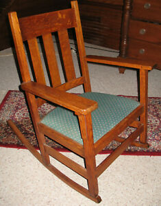 Antique Vintage Wooden Rocking Chair With Upholstered Seat