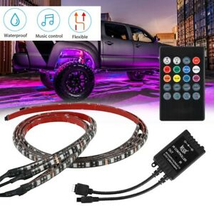 4x Rgb 48 Led Strip Under Car Tube Underglow Underbody System Neon Light Kit New