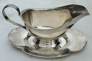 Sterling Silver Gorham 709 Gravy Boat With Attached Underplate No Mono Free Ship