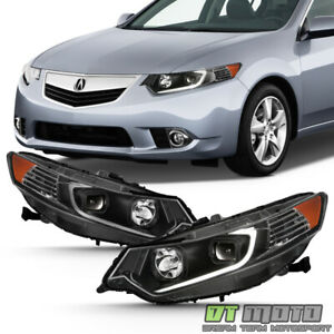 For hid Type 2009 2014 Tsx Led Tube Black Projector Headlights Headlamps Pair