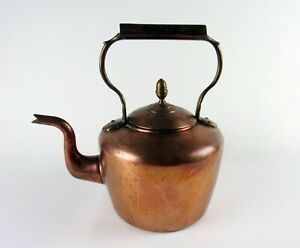 Antique English Copper Large Tea Kettle William Soutter Sons Marked Victorian