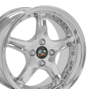 Fits 17x8 17x9 Chrome 4 Lug Cobra Wheels Of 4 Fit Mustang Gt 1979 1993