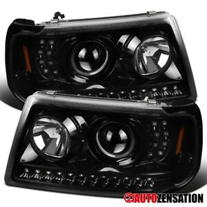 For 2001 2011 Ford Ranger Led Drl Strip Slick Black Projector Headlights