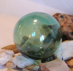 Vintage Japanese Glass Fishing Float Olive Green Bubbles 41