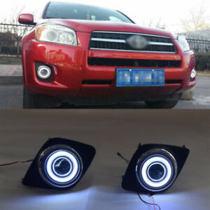 2x Led Drl Daytime Fog Lights Projector angel Eye Kits For Toyota Rav4 2009 2011