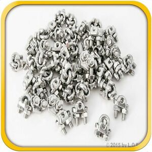 50 1 8 3mm Stainless Steel Wire Rope Clips Cable Saddle Clamps U Bolt Cinch New