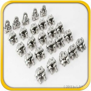 25 1 8 3mm Stainless Steel Wire Rope Clips Cable Saddle Clamps U Bolt Cinch New