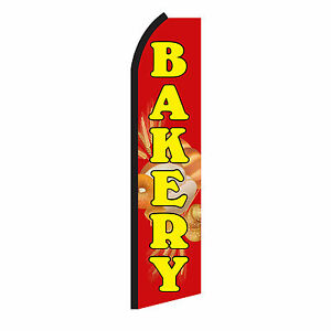 Bakery Banner Sign Flag Display Only Red Advertising Swooper Feather Flutter