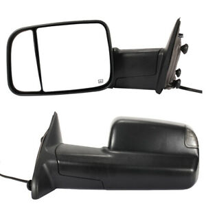 Power Heated Towing Mirrors Puddle Light For 09 18 Dodge Ram 1500 2500 3500 Pair