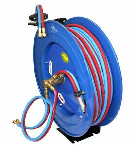 Automatic Spring Retractable Twin Hose Reel W 50ft X 1 4 Oxy Acetylene Hoses