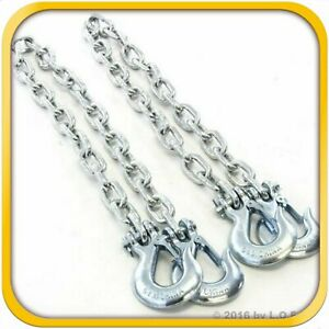 2ea 5 16 X 36 Trailer H Duty Safety Chains Slip Hook 10 000 Lb Pair New
