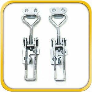 2 Pull Latch Toggle Clamps Coated Steel For Doors Cabinets 3 3 4 100 Mm Large