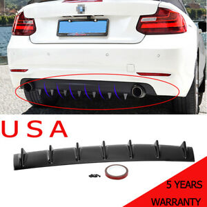 Universal Shark Fin 7 Wings Lip Diffuser 33 X6 Rear Bumper Chassis Black Abs