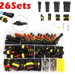 26pcs 1 4 Pin Electrical Wire Connector Plug Set Waterproof Automotive Plug Kit
