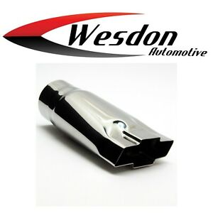 Exhaust Tip 2 25 In Inlet 4 75 In Outlet 9 00 In Lg Chevy Bowtie Stainless Steel