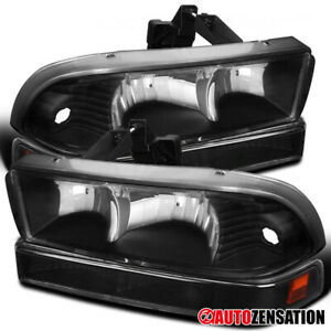 Fits 1998 2004 Chevy S10 Pickup Blazer Black Clear Headlights bumper Lamps Pair