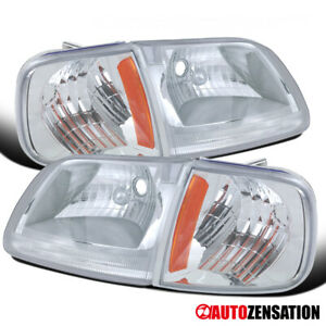 Fits 1997 2003 Ford F150 Expedition Clear Lens Headlights W Corner Signal Lamps