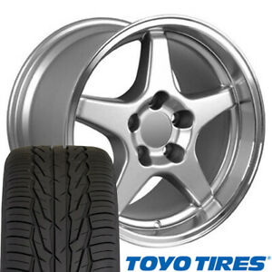17x9 5 Wheel Toyo Tire Set Fits Corvette Zr1 Style Silver