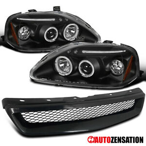 For 99 00 Honda Civic Black Halo Led Projector Headlights Front Mesh Hood Grille