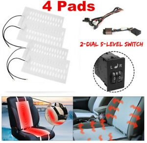 Universal 2 Seats Heated Seat Heater Kit 12v Carbon Fiber 2 Dial 5 level Switch