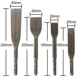 40cr Steel Pneumatic Hammer Chisels Flat Bits Square Shank For Removes Rust 4pcs