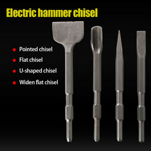 Steel Hammer Chisel Bits Pointed Flat Widen U type Set For Drill Hex Shank 1pcs