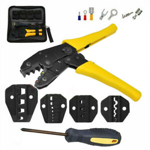 Insulated Terminals Ferrules Crimping Plier Ratcheting Crimper Tool With 5 Dies
