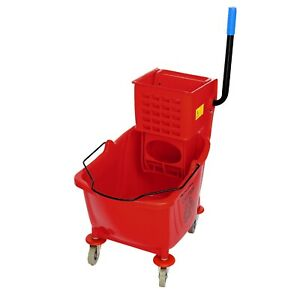 Alpine Industries 36 Quart Red Side Press Commercial Combo Mop Bucket